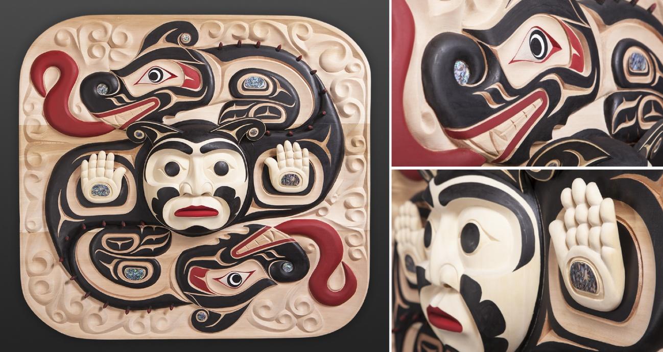 Gary Starr Sisiutl Kwakwakawakw Mohawk Carved cedar panel