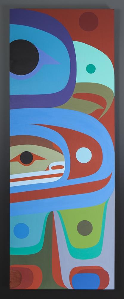 Young Eagle Steve Smith Oweekeno Acrylic on birch panel 18 x 48 original painting contemporary native art northwest coast eagle