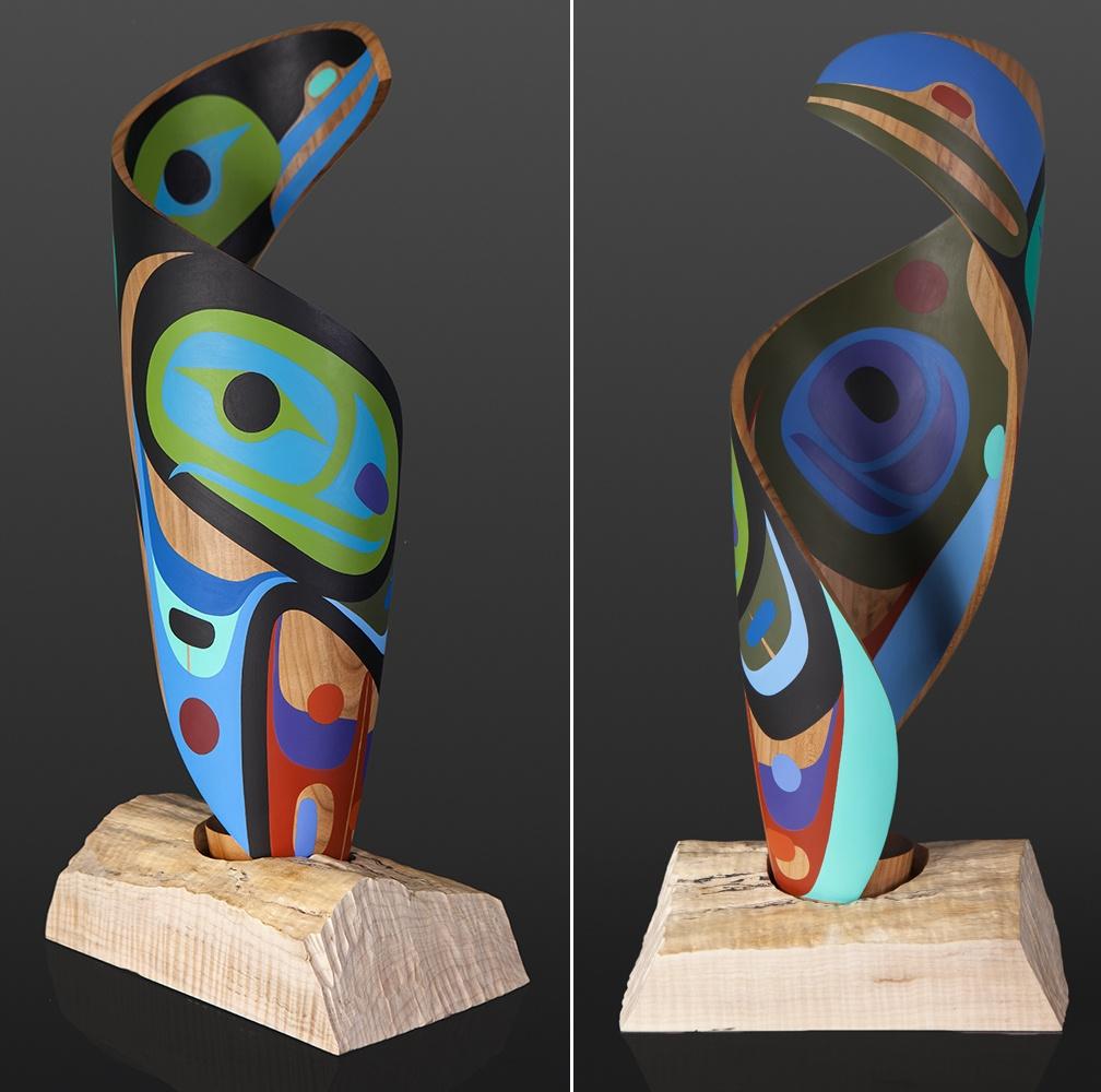 Trickster Spiral Steve Smith - Dla'kwagila Oweekeno Maple, paint 22 x 10 x 8 sculpture wood contemporary northwest coast native art