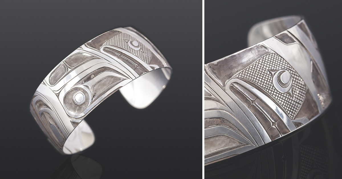 human abstract bracelet Corey Moraes Tsimshian Oxidized silver 6 x 1 1900 jewelry northwest coast native art