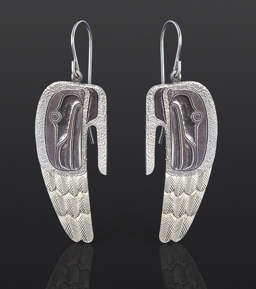 Wings earrings Corey Moraes Tsimshian Silver 1¼ x ¾ 850 jewelry northwest coast native art