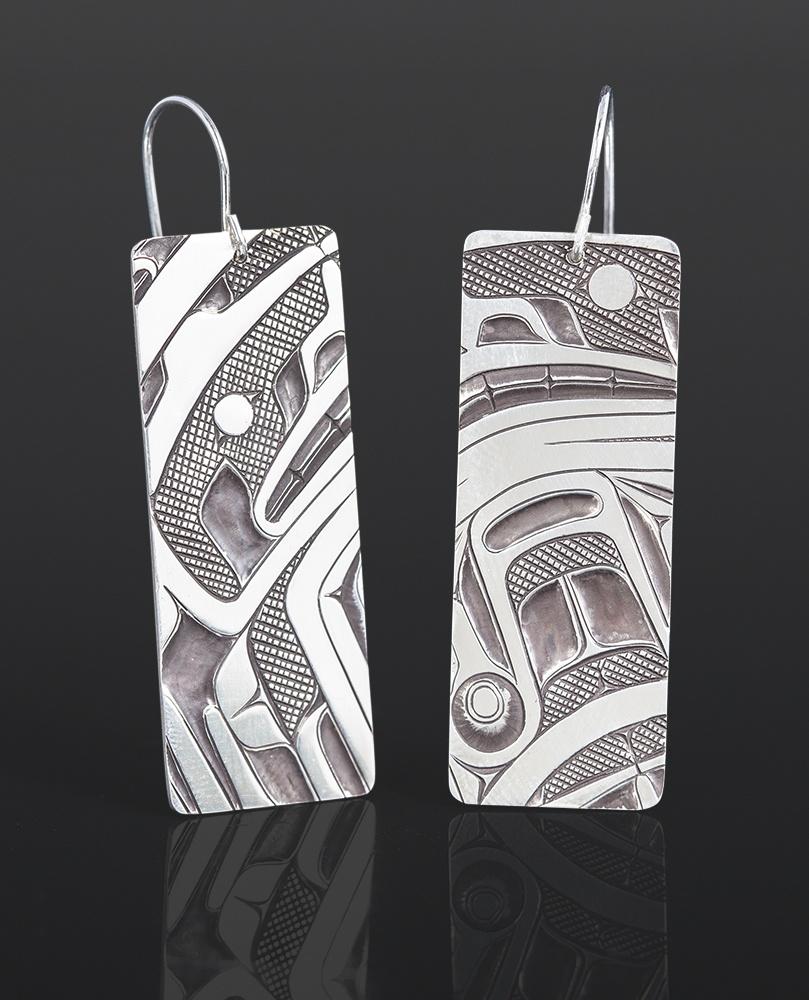 box design earrings Corey Moraes Tsimshian Silver 1¼ x ¾ 850 jewelry northwest coast native art