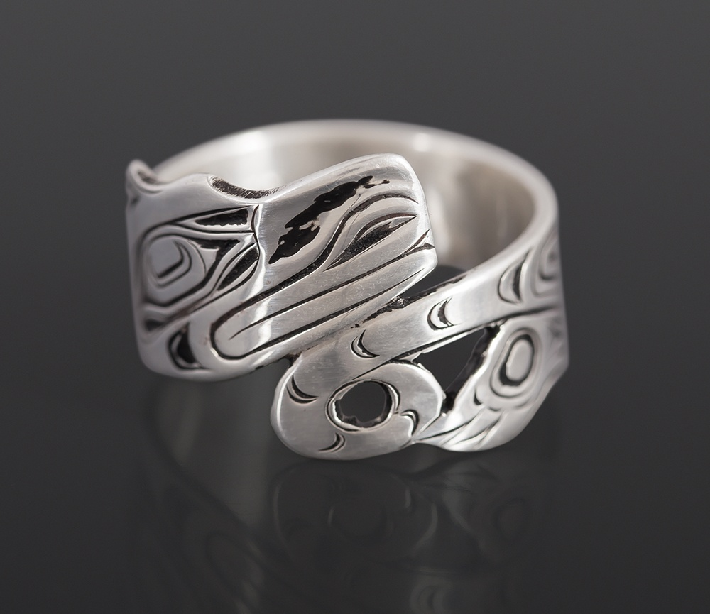 otter ring Joseph Wilson Kwakwaka'wakw Oxidized silver northwest coast native art jewelry