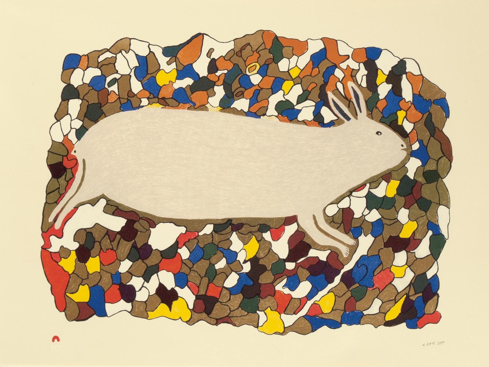 Papiara Tukiki Lithograph 22.25 x 29.75 600 startled hare inuit print cape dorset