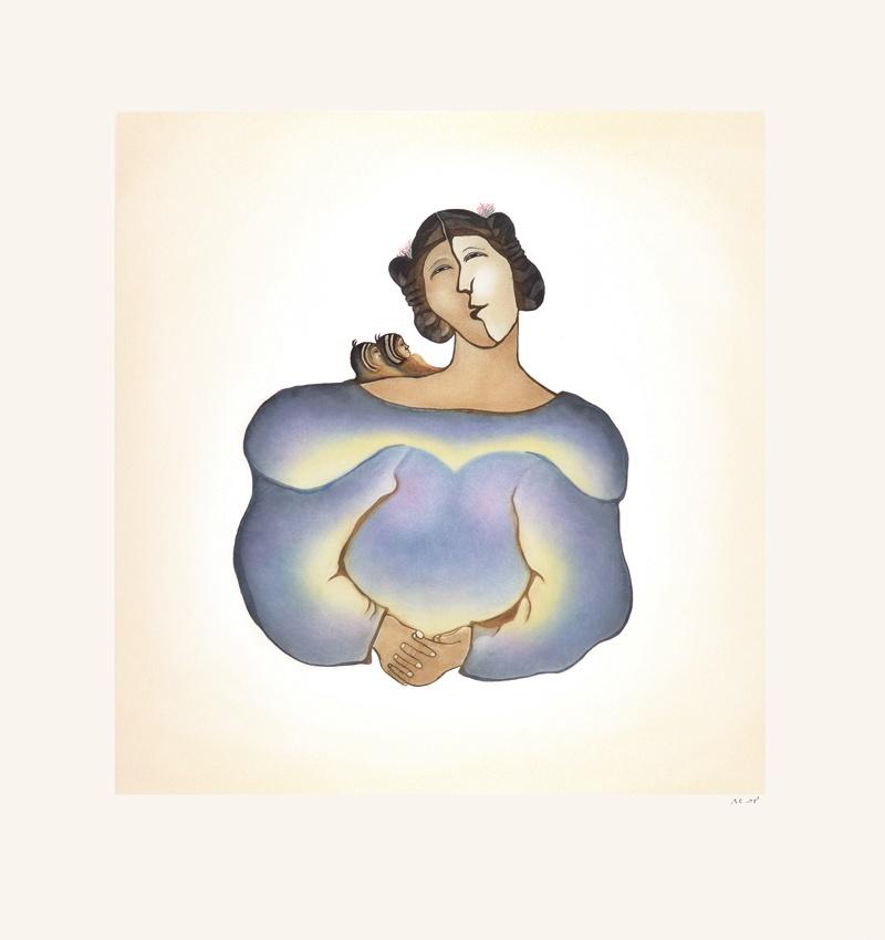 Pitaloosie Saila Etching & Aquatint 31 x 30 800 marruliak twins inuit print cape dorset