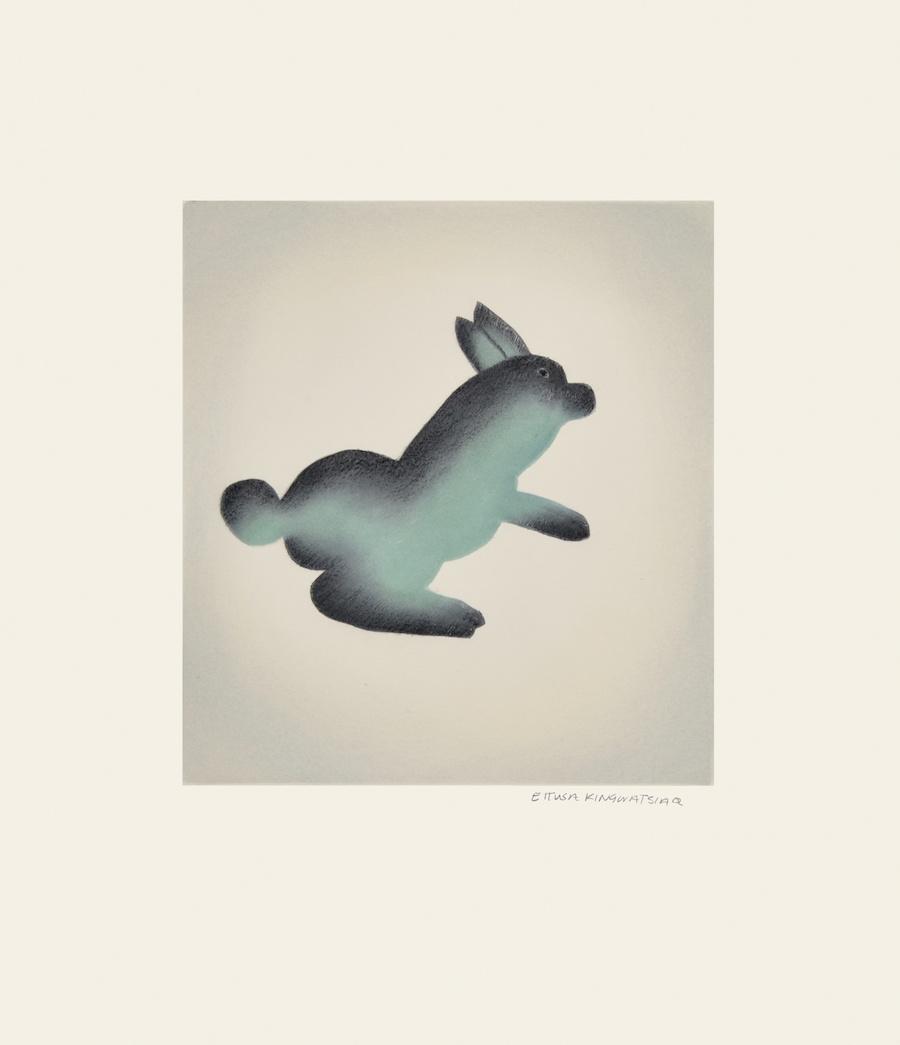 Ettusa Kingwatsiaq Etching & Aquatint 17 ½ x 15 425 hop rabbit hare inuit print cape dorset