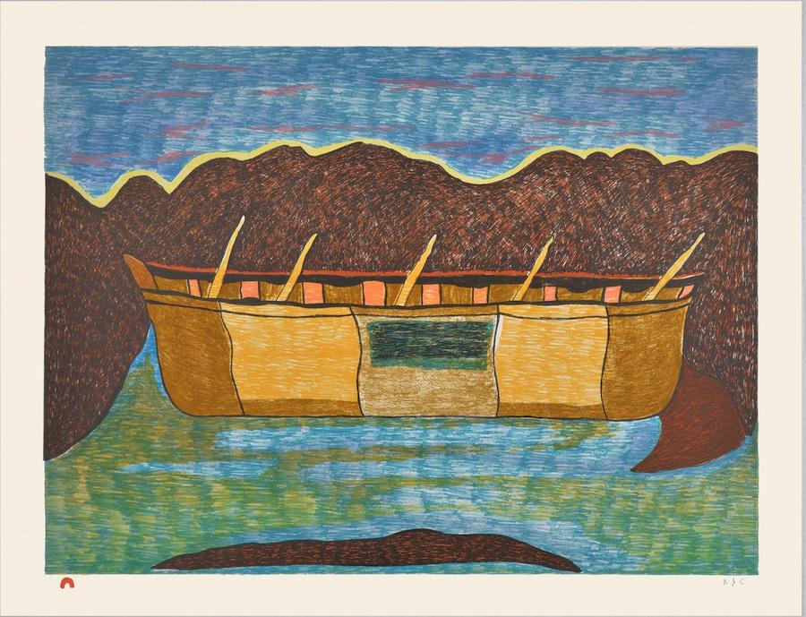 Ohotaq Mikkigak Lithograph 20 ¼ x 26 ¼ 700 last umiak inuit print cape dorset