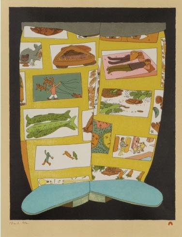 Story Boots Shuvinai Ashoona Inuit Lithograph 25.5H x 20W 700 print cape dorset