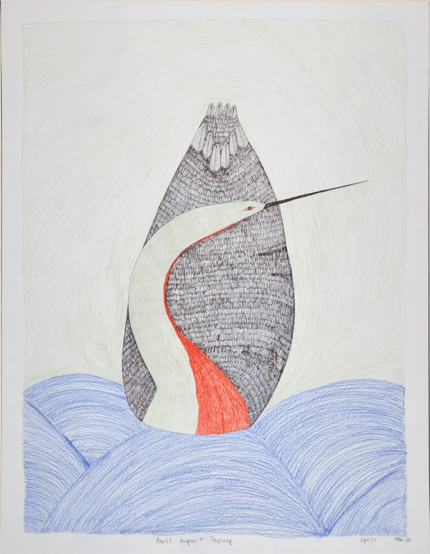 Ningeokuluk Teevee Inuit Graphite, coloured pencil and ink 25 x 20 Paorit Quqaurit - Qaqsauq inuit print cape dorset orignial drawing
