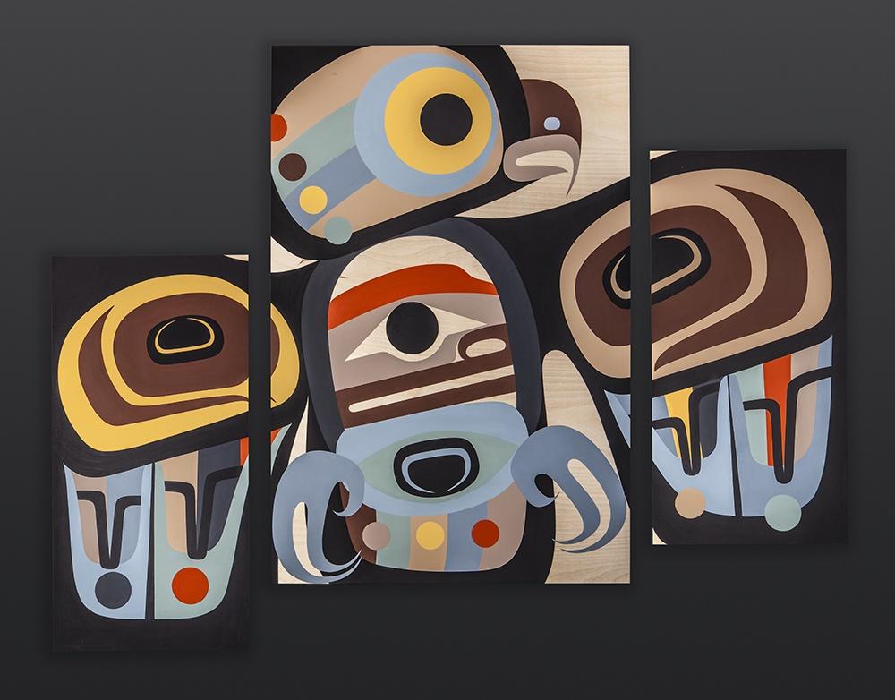 """the wise one Steve Smith - Dla'kwagila Oweekeno Acrylic on birch panel Triptych 48"""" x 36"""" owl contemporary northwest coast native art"""