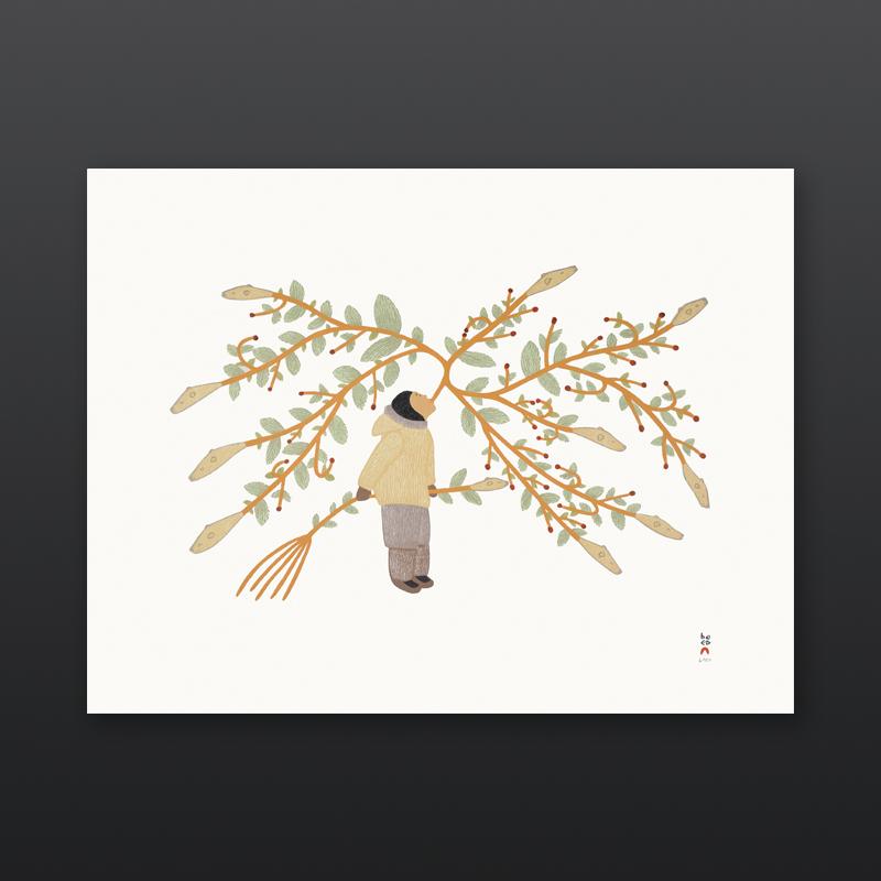 Arniniq Inuusiq Breath of Life Qavavau Manumie Inuit Stonecut Stencil Cape Dorset Print 2017