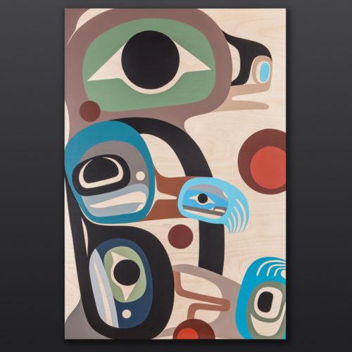 Baby Bear Cub Steve Smith Dla'kwagila Oweekeno Birch panel, paint 24 x 36 3000 original painting northwest coast native art modern