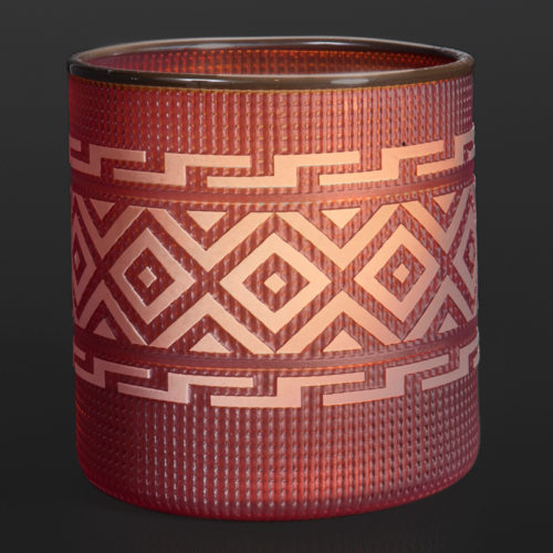 "amber berry basket Preston Singletary Tlingit Blown & sand-carved glass 5½"" x 5½"" 3000 glass blowing Seattle glass artist northwest coast berry basket"