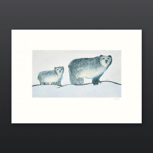 Roaming Bears Annie Parr Inuit Etching Aquatint Cape Dorset Print 2017