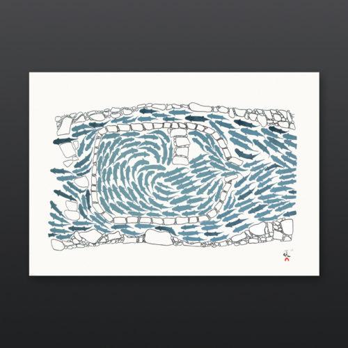 Saputiit Handmade Fish Weir Simeonie Teevee Inuit Cape Dorset Print 2017 Etching Aquatint