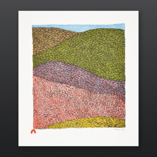 Tundra Waves Ningiukulu Teevee Inuit Cape Dorset Prints 2017 Lithograph