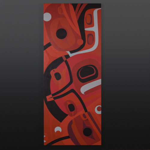 Autumn Steve Smith Dlakwagila oweekeno 24 x 60 5000 birch panel paint fall original painting northwest coast native artist