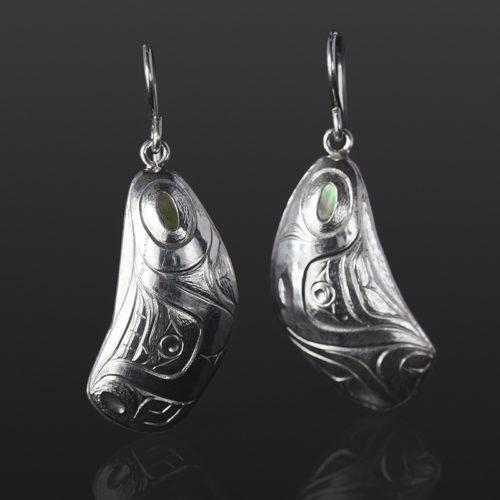 mussel shell earrings Gus Cook Kwakwaka'wakw silver Repoussé jewelry native art northwest coast 1 x 1/2 750 abalone