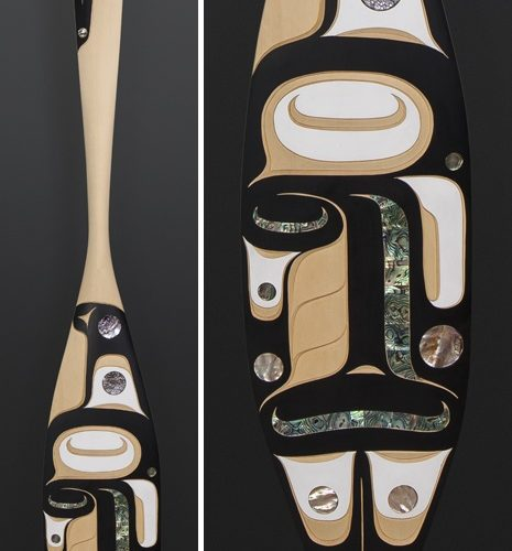 "Moy Sutherland Nuu-Chah-Nulth Yellow cedar, paint, abalone 68"" x 8"" orca"