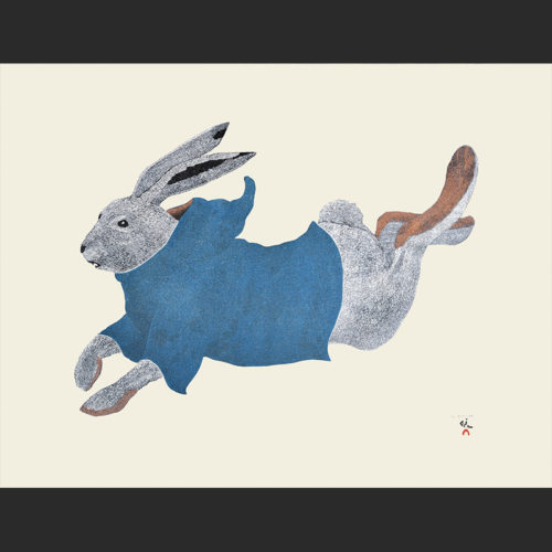 Qimaajuq Ukali Running Rabbit Tim Pitsiulak Stonecut Stencil Cape Dorset Print Collection 2016 $800