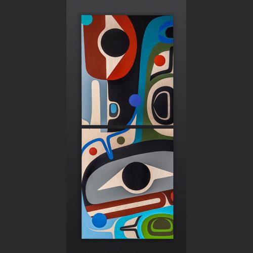 Steve Smith - Dla'kwagila Oweekeno Family Acrylic on birch panel painting 3200