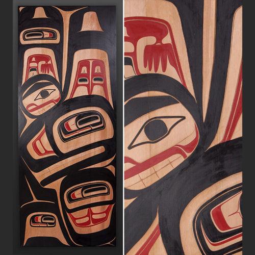 Reg Davidson Haida Haida Orca Carved cedar panel 7500