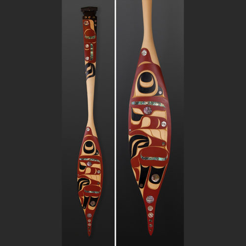 "Moy Sutherland Nun Chah Nulth Yellow cedar, abalone, paint 69"" x 8"" x 1 ½"" hummingbird"