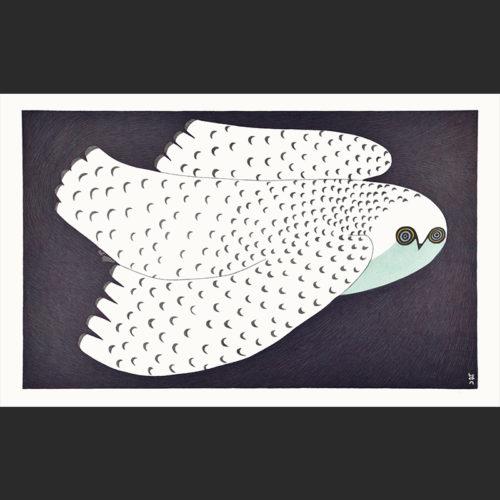 Ningeokuluk Teevee Midnight Owl Stonecut & Stencil Cape Dorset Print Collection 2016 960