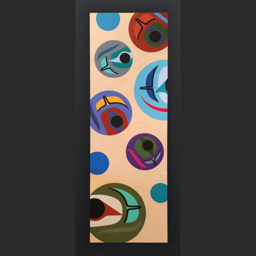 Salmon Eggs Steve Smith - Dla'kwagila Owekeeno Acrylic on birch panel 36 x 12 1500