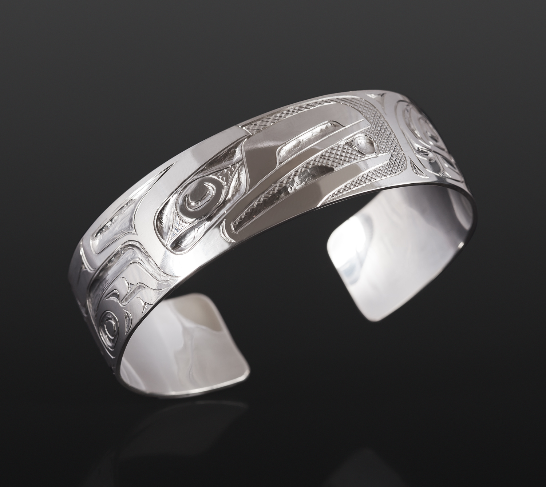 "Raven & Light Bracelet Henry Green Tsimshian Silver 6"" x ¾"" $550"
