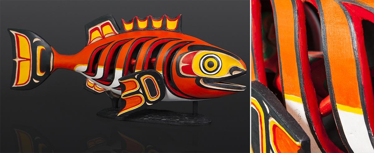 "Joseph Wilson Kwakwaka'wakw Yellow cedar, glass bead, paint 20"" x 8"" x 6"" Snapper Rattle fish Joseph Wilson Kwakwaka'wakw $3000"