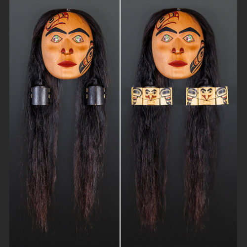"Ernest Swanson Haida Red cedar, yellow cedar, horsehair, paint, twine, abalone 18"" x 16"" x 5"" Grandmother Lagaa'nang Jaad Feasting Woman Ernest Swanson Haida Grandmother mask articulated $7500"