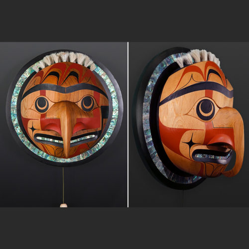 "Hawk Moon Moy Sutherland Nun Chah Nulth 6400 Moy Sutherland Nun Chah Nulth Red cedar, abalone, paint, string 16"" x 16"" x 10"""