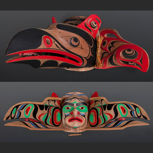 Raymond Shaw Kwakwakawakw raven salmon transformation articulated Red cedar paint cedar bark 34 x 24 x 14 $7500