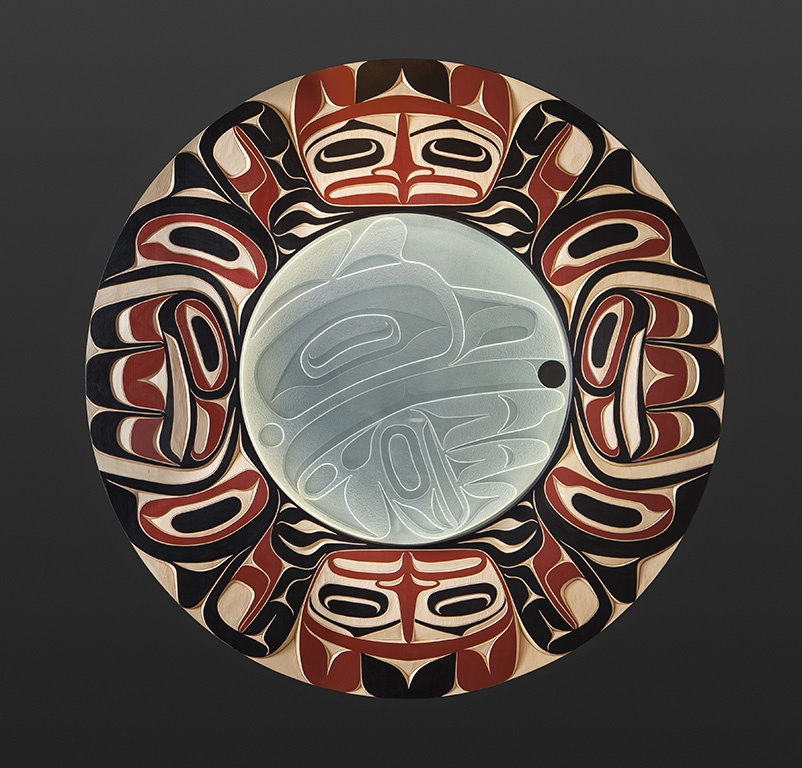 """Moy Sutherland Nuu-Chah-Nulth raven steal light Yellow cedar, glass, paint, LED 42"""" dia. $10500"""