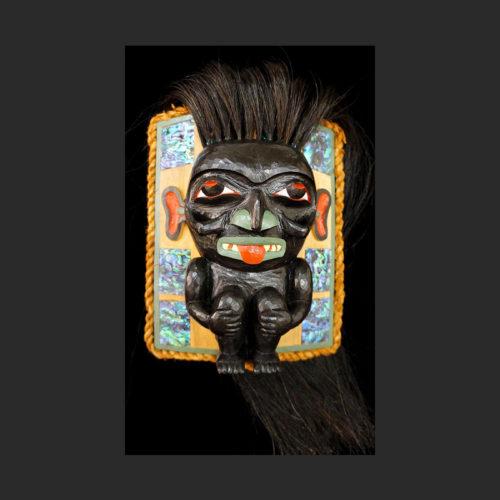 "Gagiit Frontlet Cori Savard Haida alder, abalone, horsehair, cedar bark, paint 9""H x 7""W x 4""D Sold"