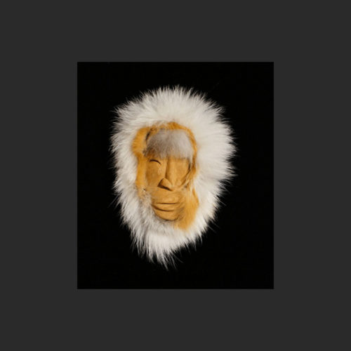 "Hunter Mask Idele Aningayon Yu'pik red cedar, fur 4 ½""H X 2 ½""W X ¾""D Sold"