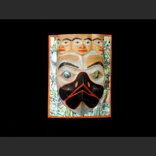 """Amhalaayt"" Raven Chief's Frontlet Morgan Green Tsimshian alder, abalone, acrylic paint 7"" X 5 ½"" X 5"" Sold"