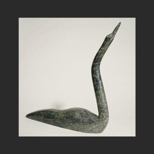"Loon Ningeosiak Ashoona Inuit serpentine 11""L x 12""H x 2""W Sold"