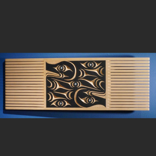 """Red cedar, abalone, acrylic paint 25"""" x 9"""" x ½"""" Salish Serpents Comb Ruth Peterson, Salish style Sold"""