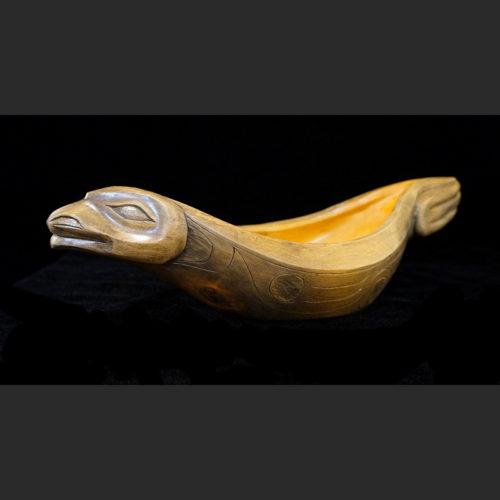 "Oolichan Oil Seal Bowl Virginia Morgan Gitxsan/Kwakwaka'wakw birch 14"" X 4"" X 5 ½"" Sold"