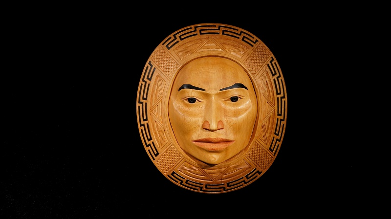 """Weaver's Moon Arlene Ness Gitxsan red cedar, paint 16"""" X 14"""" X 6"""" Sold"""