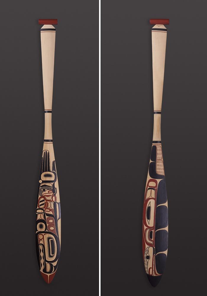 "Salmon Journey paddle Clifton Guthrie - Tsimshian Yellow cedar, paint 60"" x 6"" $2200"