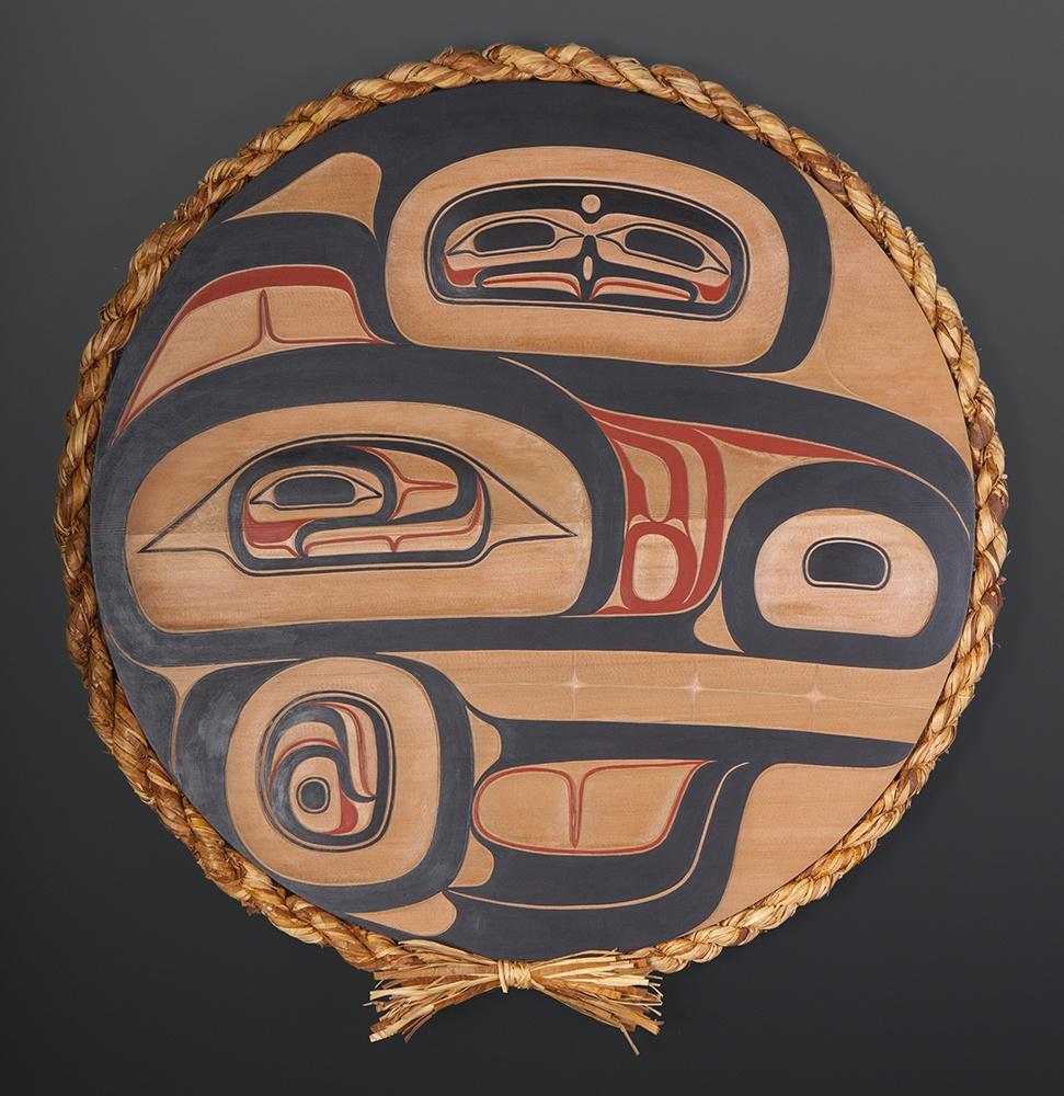 "Laxgyibuu (Wolf Crest) Clifton Guthrie Tsimshian wolf clan Red cedar, paint, cedar rope 25"" dia. $2800"
