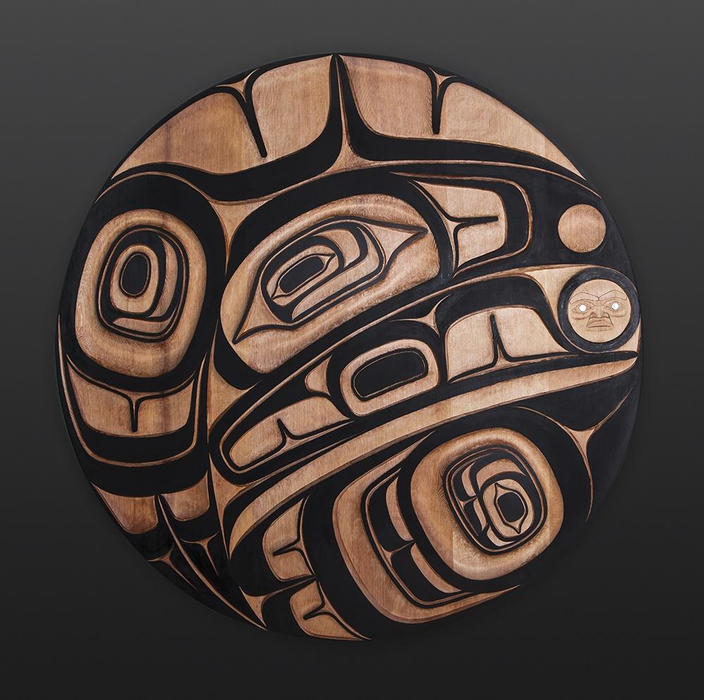 raven and the light Ernest Swanson Haida raven light panel Red cedar paint abalone 34 dia. 6000