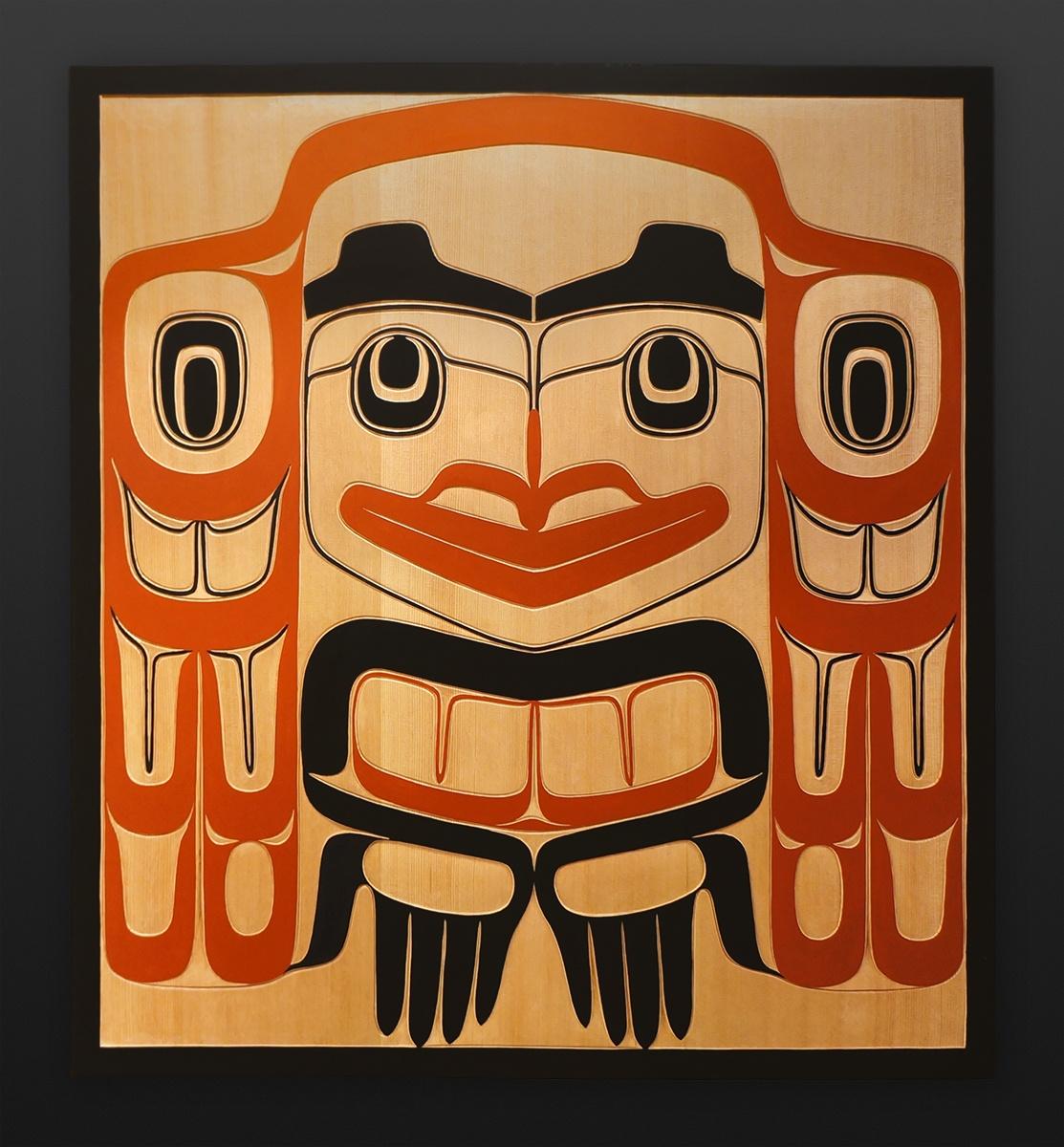 "welcome Clifton Guthrie Tsimshian welcome Red cedar, paint 32"" x 29"" $3400"
