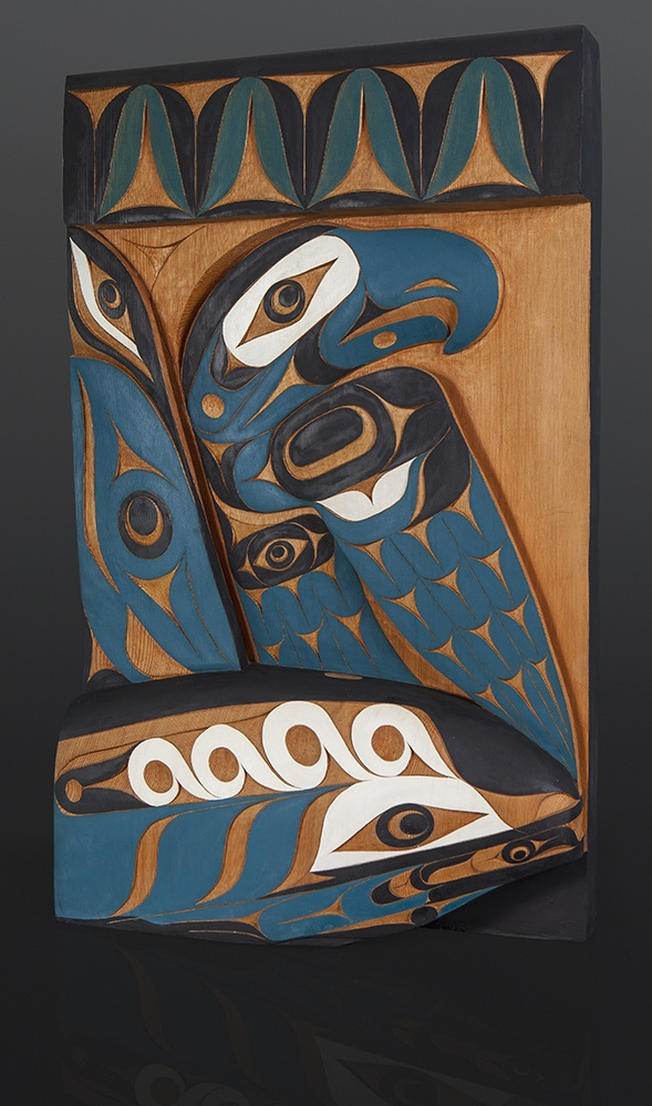 holding something of importance Tim Paul Hesquiaht whale orca eagle Red cedar paint 30 x 18 x 4 9000