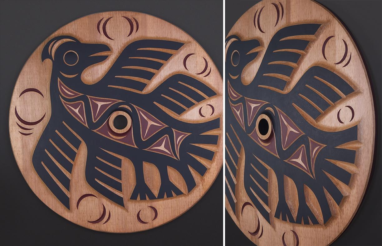 "ancestral guardian whorl Susan Point Coast Salish Red cedar, paint 33"" dia. $7500"