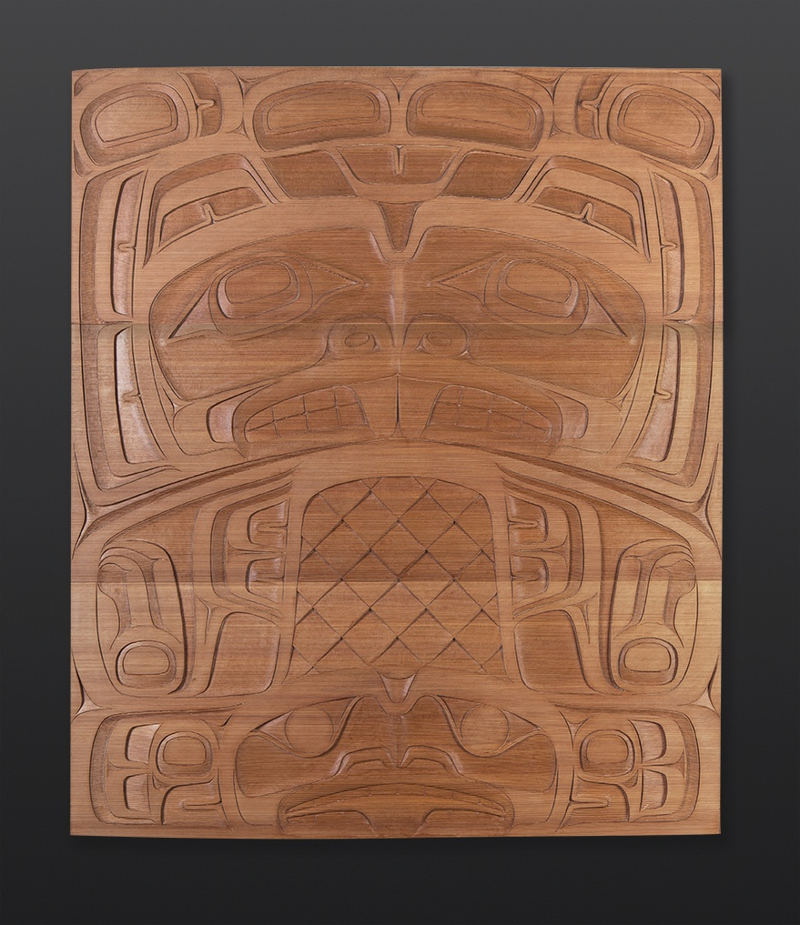 "beaver panel Cori Savard Haida beaver Red cedar 36"" x 41"" $9500"