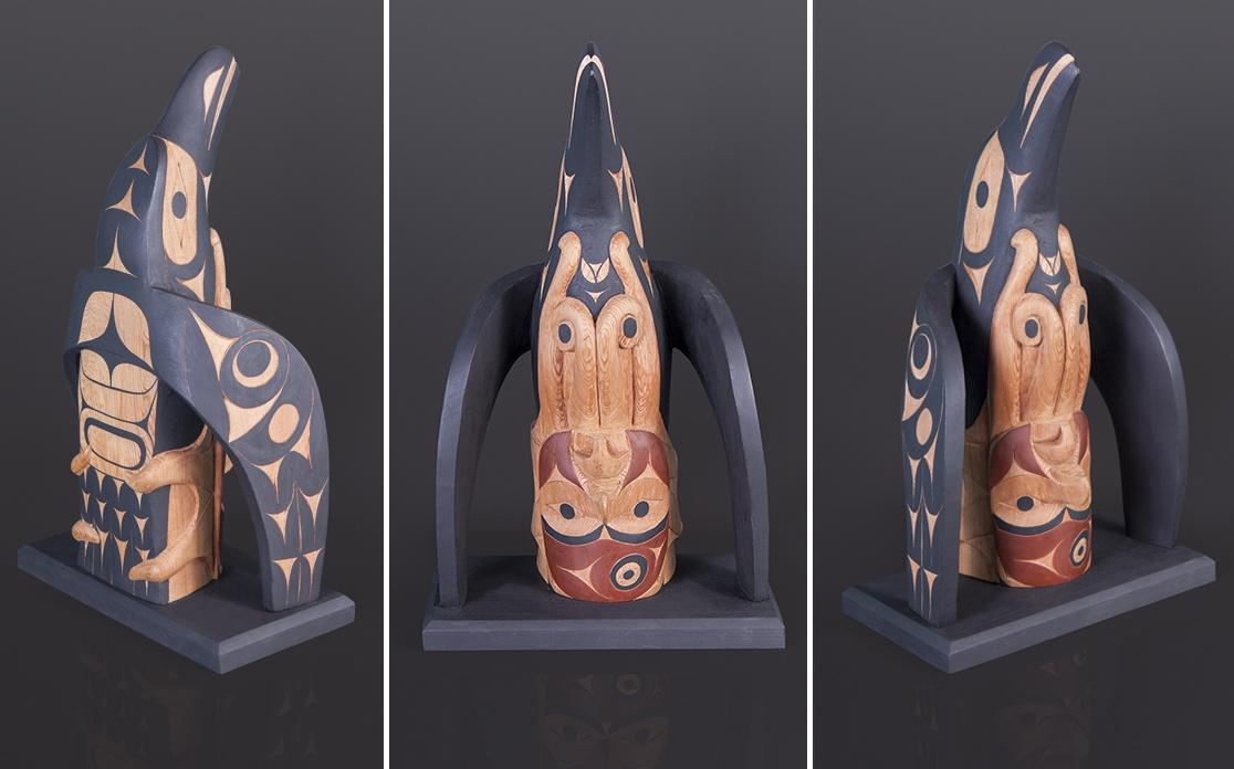 "Raven and the Female Octopus Tim Paul Hesquiaht $3800 Red cedar, paint 18"" x 11"" x 6"""